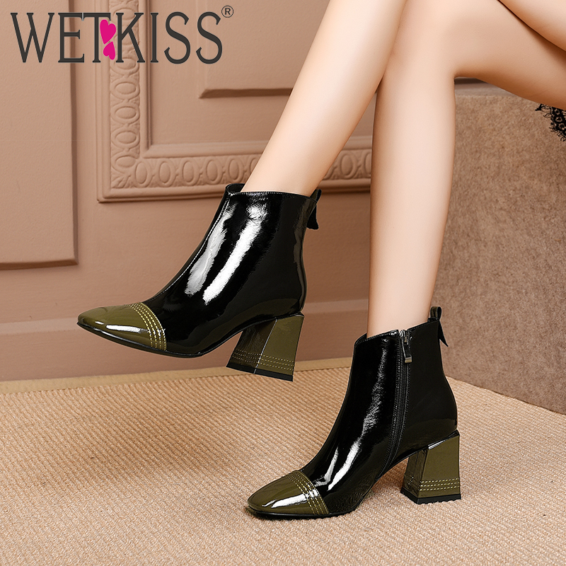 WETKISS cuir verni femmes bottines bout carré Zip chaussures épais talons hauts femme bottes couture chaussures femme 2019 printemps