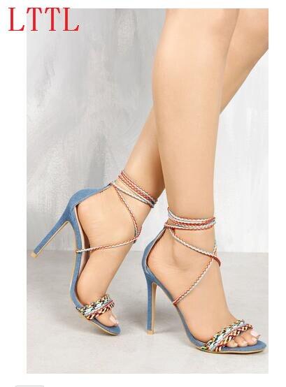 ФОТО Open toe super high thin heels 10 cm women high heel sandals ankle strap narrow band lace-up cross-tied women shoes blue denim