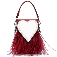 Feather Women Bag 2018 New Handbag High Quality Pu Leather Tassel Small Square Bag Portable Tote Bag Chain Shoulder Bags