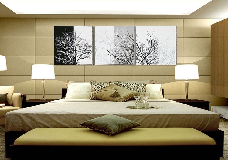 handmade 3 piece black white modern abstract oil paintings on