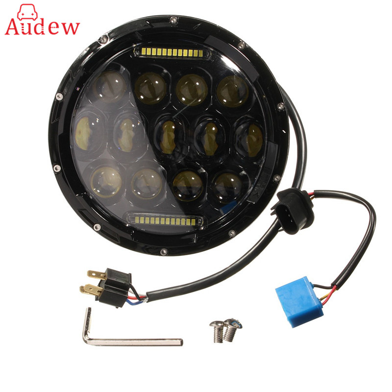 7inch 75W Round LED Headlight 7500LM Hi/Low Beam Head Light with Bulb DRL For Jeep/ Wrangler/Land Rover/Harley-Davidson free shipping 7inch round headlight 75w h4 motorcycle round led headlamp daymaker hi low beam head light bulb drl for offroad