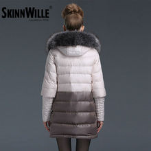 SKINNWILLE New Winter Collection 2016 Bio Fluff Coat Medium Length Fashionable coat Women's Hooded Warm Jacket