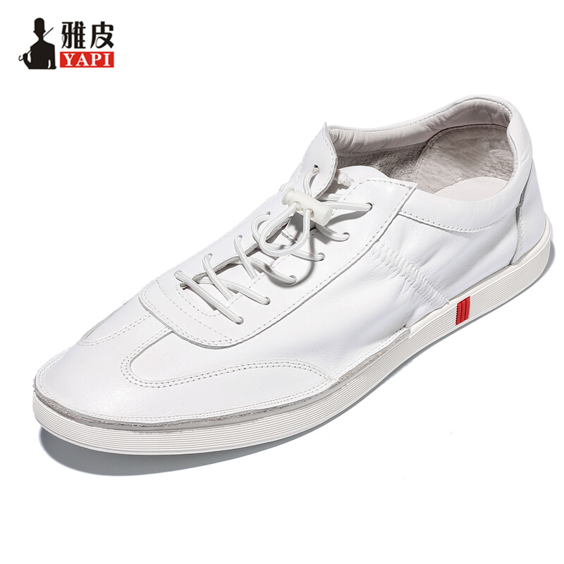 US 6-10 Trendy Mens Lace Up Soft Genuine Leather Sneaker Shoes Boys Students Casual Outdoor White Leather Shoes us 6 10 trendy mens lace up soft genuine leather sneaker shoes boys students casual outdoor white leather shoes