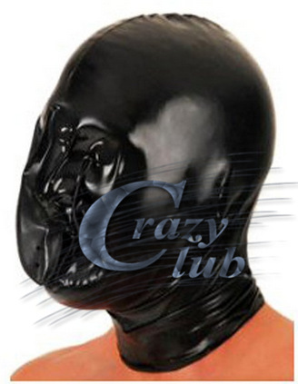 Crazy club_ Black Latex Rubber Inflatable Hood with Nostril Mask fetish Handmade Natural Zentai hood Free Shipping Fast Delivery [sf 11] fixed with zipper sissy boy rubber latex mask cross dressing halloween horror female mask female mask sissy boy