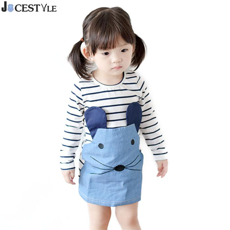 Striped Patchwork Character Baby Girl Dresses Long Sleeve Cute Mouse Children Clothing Kids Girls Dress Denim Kids Clothes 1-6Y цены онлайн