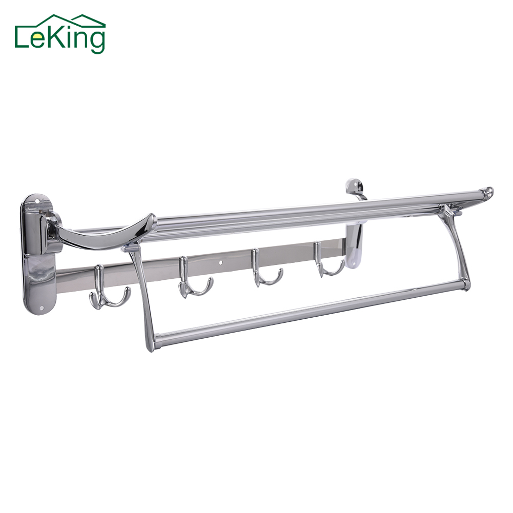LeKing Stainless Steel Folding Bath Towel Rack Movable Bath Towel Holder Double Towel Rails Bars With Hooks Wall Mounted xueqin 56x7 2x3 5cm bathroom towel racks double towel rack wall mounted space aluminum towel shelf with hooks bath rails bars