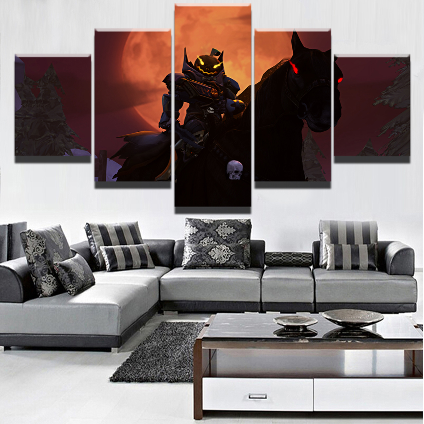 5 Pieces Overwatch Hallowmas Reaper Painting Modern Home Wall Decor Black Horse Picture Art HD Print On Canvas For Living Room