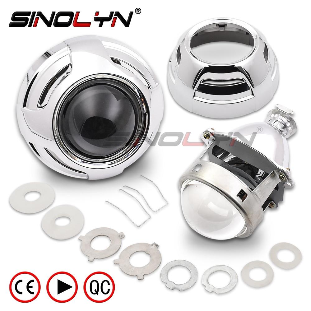 SINOLYN Car Xenon HID Projector Super Metal 3.0'' H1 Bi-xenon Headlight Lens Fits H4 H7 LHD RHD With Apollo 3.0 Shrouds Styling car styling 2 5 inches lhd rhd bi xenon projector lens hid xenon bulb car headlight xenon lamp h1 and h7 h4 base lens