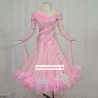 Free Customized Dance Dress. Pink Feather ballroom dance competition dresses ballroom waltz dresses standard dance dress women