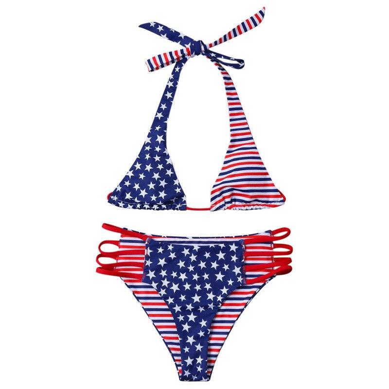 Womail 2018 Sexy Women American Print Flag Bikini Swimsuit Bikini Beachwear Swimwear Bathingsuit Swimsuit summer beach suit