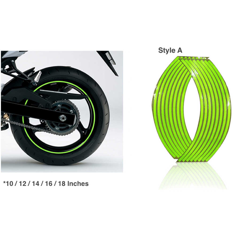 Motocicleta Universal 16 Tiras À Prova D' Água Acessórios Da Roda De Aro 16/18 Polegadas De Fluorescência Reflexivo Decalques Decoração Adesivo