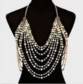Fashion sexy belly body chain pearl choker necklace women elegant shoulder chain tassel bohemian wedding bridal jewelry