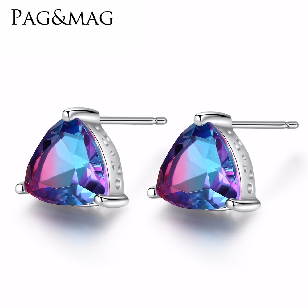 PAG&MAG AAA+ Colorful-blue Topaz Crystal Stud Earring plated