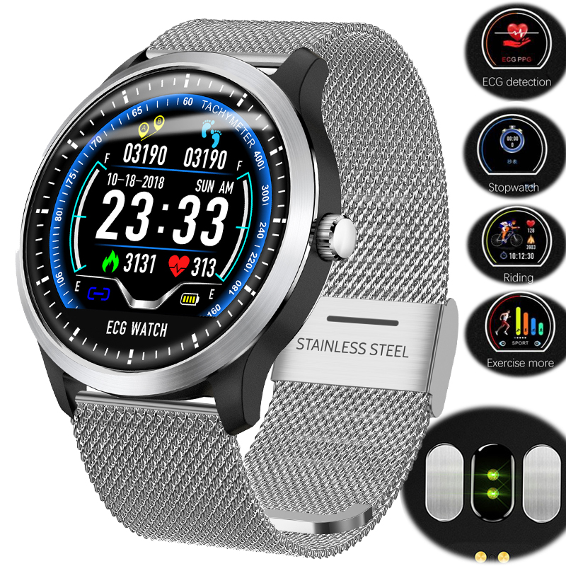 Permalink to N58 ECG PPG smart watch with electrocardiograph ecg display,heart rate monitor blood pressure Fitness Run men women smart watch