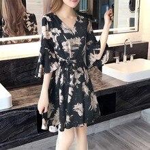 Korean Slim Thin Elegant Women Dresses Boho Style Floral Print Chiffon Beach Dress Mini Party Vestidos 2019 Fashion