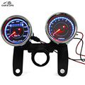 Universal Odometer Speedometer Tachometer 13000 RPM Dual Color LED Backlights Gauge Meter Mileage for Motorcycles Scooter