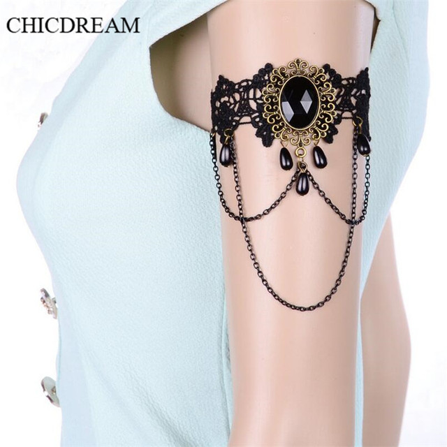 598b2aba0c37 Retro Gothic Lace Bracelet Black Large Rhinestone Pendant Bangles Metal  Chain Tassel Wrist Jewelry Summer Girl