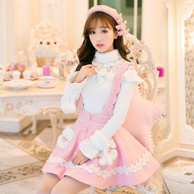 Princesse douce lolita robe blanche bonbon pluie design japonais doux chandail à manches longues dentelle blouse ensemble C22CD6234