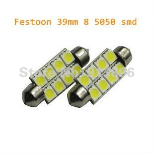 free shipping 39mm festoon 8smd led light car 12 volts 8 smd led bulb wedge