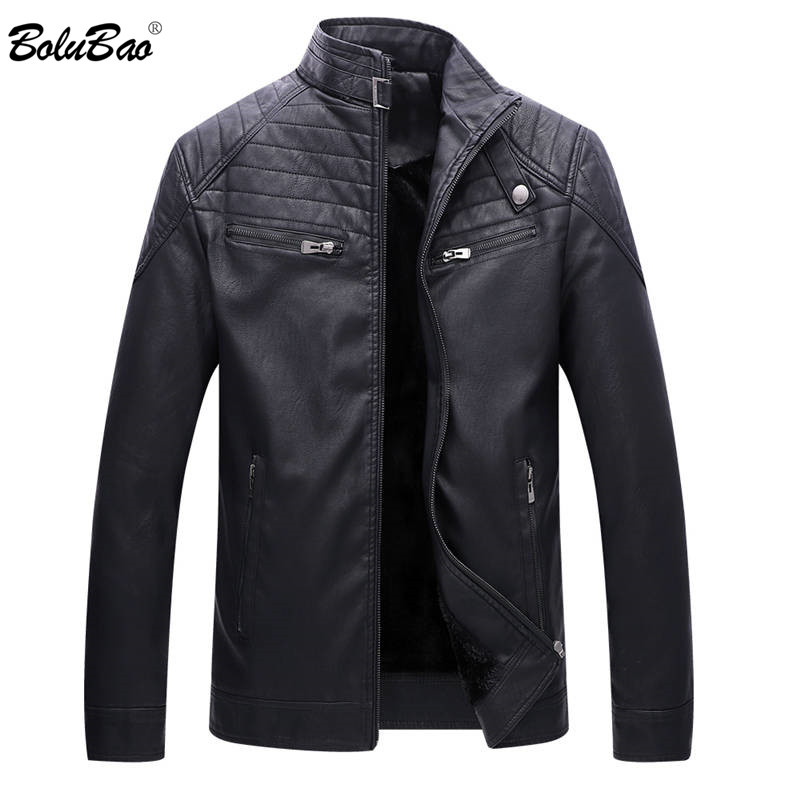 BOLUBAO 2018 New Men Leather Jacket Winter Fashion Fleece Lined Quality PU Casual Biker Jacket Male Outerwear Coats