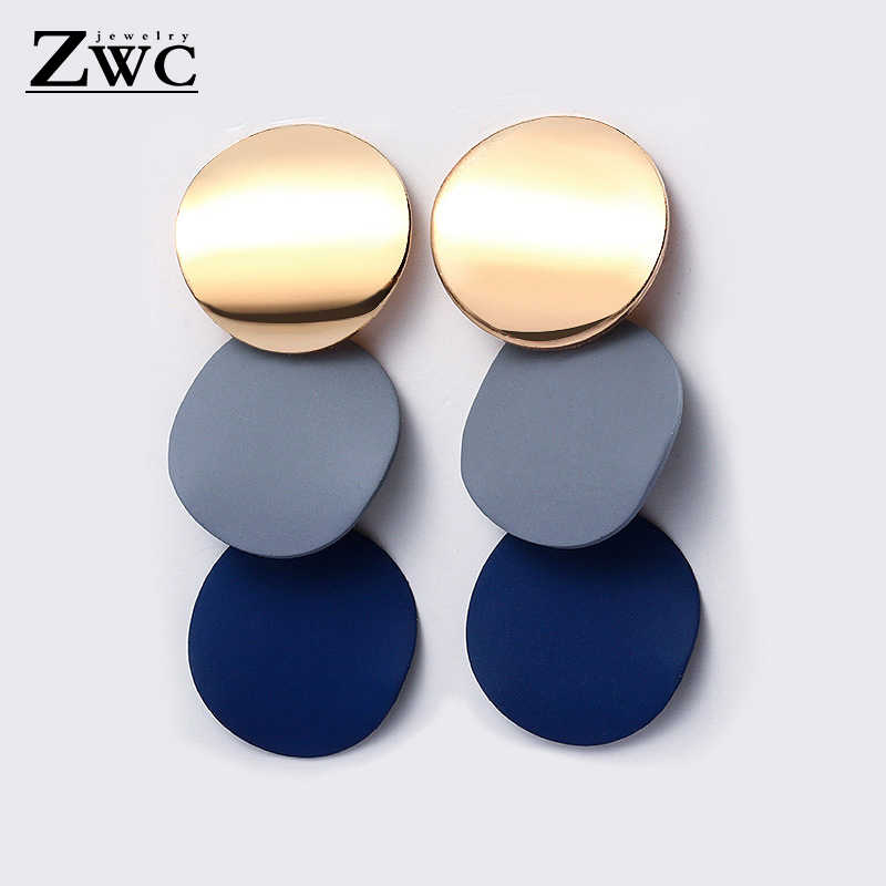 ZWC Fashion Unique Metal Hanging Dangle Earrings For Women  Vintage Geometric Statement Drop Earrings Jewelry Wholesale brincos