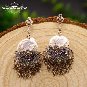 Image 2 - GLSEEVO Original Design fait à la main perle boucles doreilles pour les femmes gland boucles doreilles de luxe bijoux de mariage Brincos GE0695