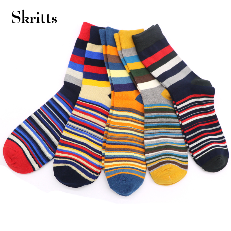 Skritts 1Pair Striped Socks for Men Autumn and Winter Casual Mens Socks Art Fashion Business Dress Socks High Quality Warm Sock