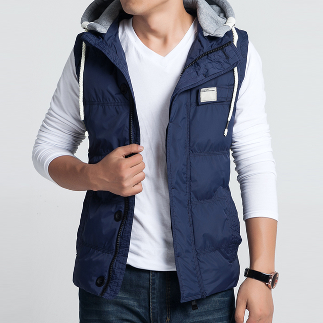 2016 New Arrival Sleeveless Hoodie Vest Oversized Mens Waistcoats High Quality Sleeveless Jacket mens Famous Brand  warm vest
