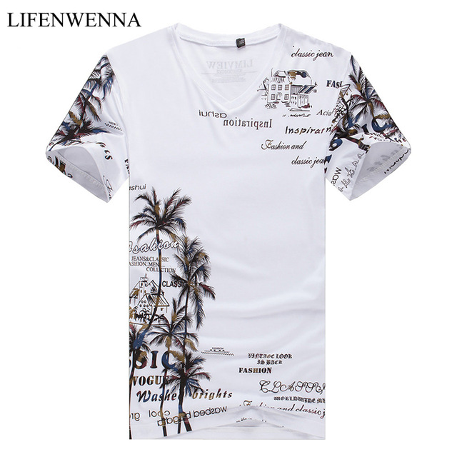 2019 Летняя мужская футболка новая мода кокосовый остров печать футболка мужская v-образный вырез короткий рукав Slim Fit Повседневная Мужская s футболка 5XL