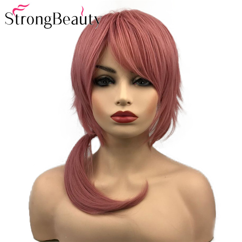 StrongBeauty Dark Pink or Light Blue Wig Cosplay Party Synthetic Straight Wigs Heat Resistant Halloween Hair