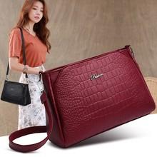 High End Ladies Bag Texture Red Black Waterproof Imitation Leather Messenger Exquisite Shoulder Magnetic Buckle