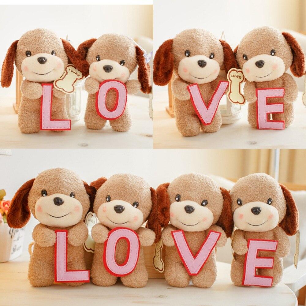 1set 20cm L-O-V-E teddy dog little plush doll wedding gift novelty romantic girl stuffed toy super cute plush toy dog doll as a christmas gift for children s home decoration 20