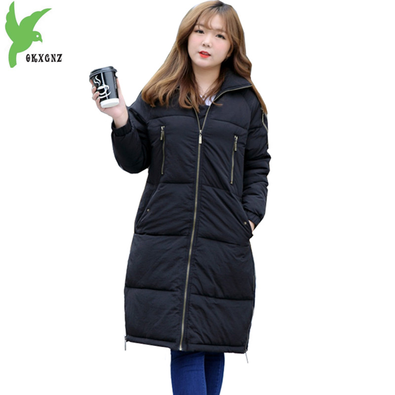 Plus Size 5XL Women Winter Down Cotton Jacket New Fashion Black Fat MM Long Coat Thick Warm Slim Female Casual Costume OKXGNZ968 plus size 5xl down cotton long coat female costume 2017 fashion boutique black warm jackets casual hooded slim coat okxgnz a969