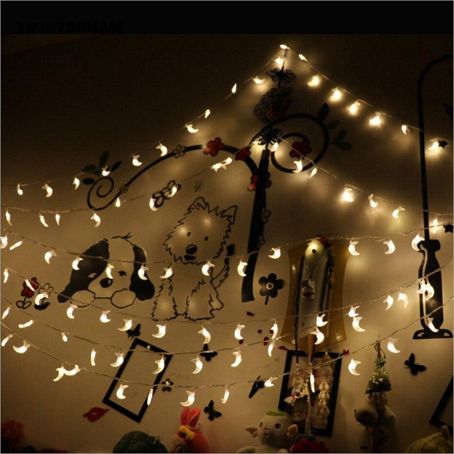 YINGTOUMAN HOT 50m 400LED Plugs Moon Bling Bedroom Lamp String Lights Christmas Holiday Wedding Outdoor Decoration Fairy Lights цена 2017