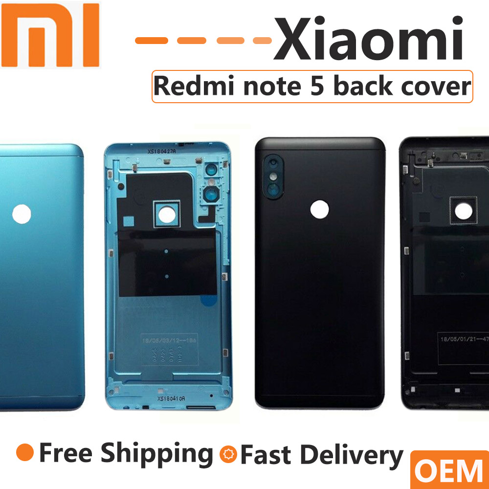 OEM For Xiaomi Redmi Note 5 Battery Cover Rear Door Back Housing Redmi Note 5 Pro + Camera Lens & Side Keys Buttons Replacement
