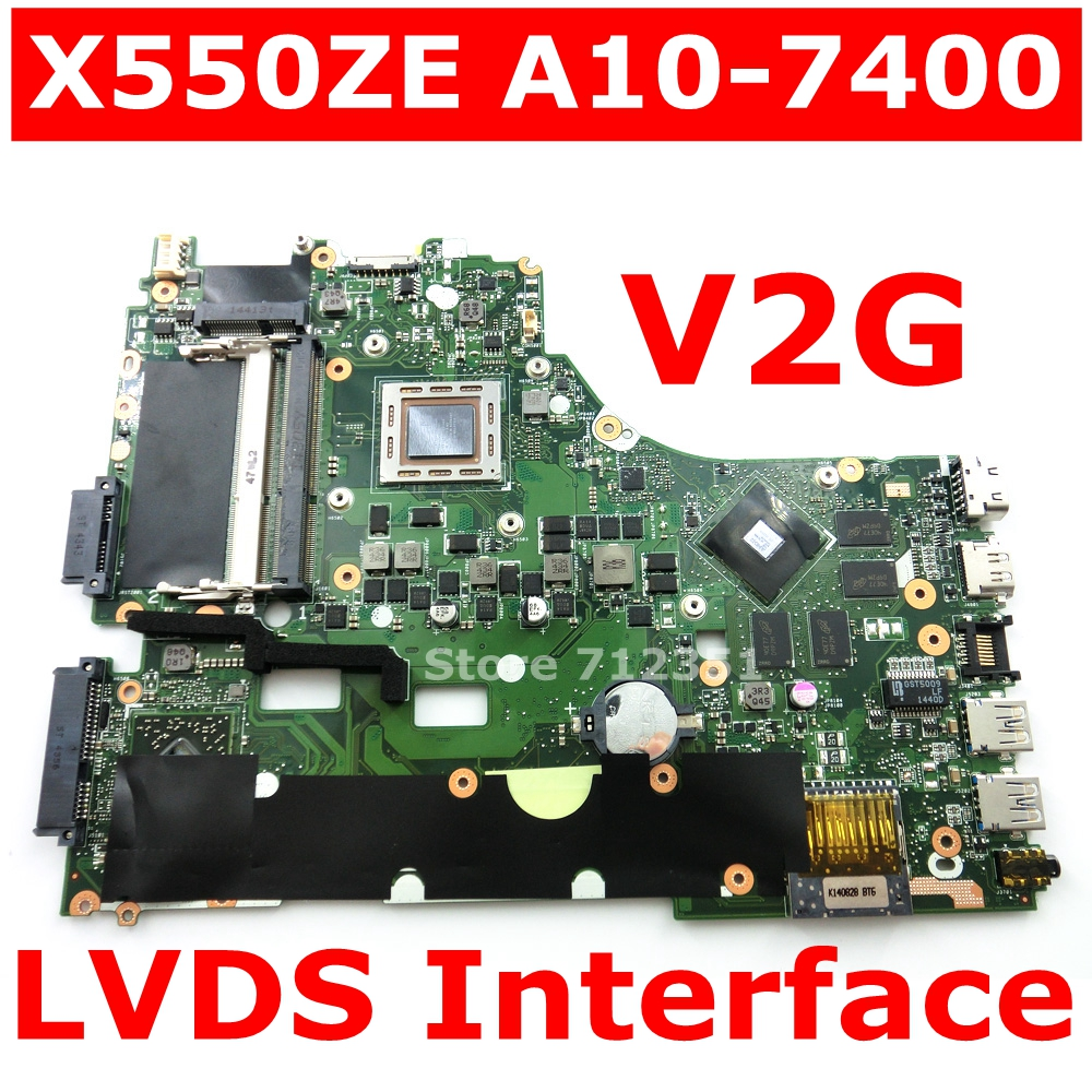 X550ZE A10 7400 CPU V2G Mainboard For ASUS X550ZA X550Z VM590Z K550Z X555Z Laptop motherboard USB3.0 90NB06Y0 R00050 100% Tested-in Motherboards from Computer & Office