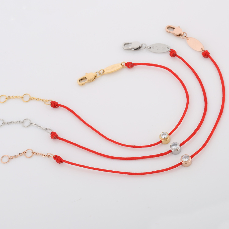 red rope bracelet gold color plated diamante simple fashion brand new Titanium Steel half string and half chain free shipping