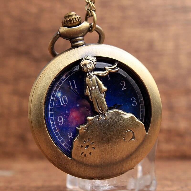 Retro Antique Bronze Little Prince Pocket Watch Vintage Flip Fob Quartz Clock With Chain Necklace Pendant Gift For Children Boy