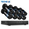 8ch 1080 p 48 v poe nvr 2.0mp techege 3000tvl visión nocturna POE Cámara IP P2P Nube CCTV sistema de cámara Sistema de Vídeo vigilancia