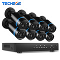 Techege 8CH 1080P 48V POE NVR 2.0MP 3000tvl NIght Vision POE IP Camera P2P Cloud camera system CCTV System Video  Surveillance