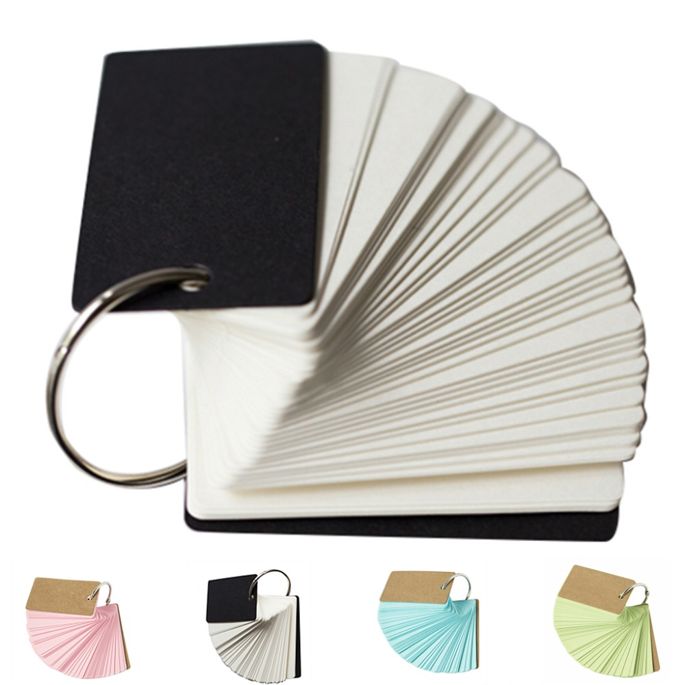 Hot sale 2Set/200pcs Binder Ring Easy Flip Flash Cards Study Cards, Blank Cards Memo Pages subtraction 52 flash cards