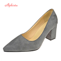 Aphixta Quadrat Ferse Frauen Spitz Pumps Fashion Grau hohe Quadratische Fersen Flock Leder Schwarz Partei Schuhe Plus Große größe