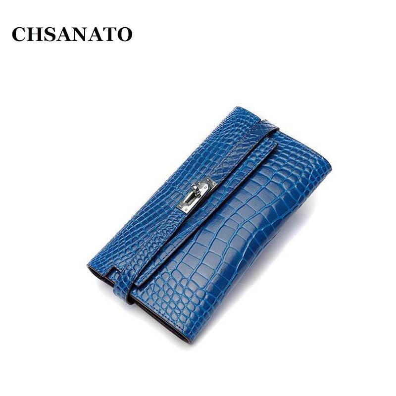 CHSANATO nouveau motif Crocodile en cuir de vache femmes Long portefeuille Style classique dame filles femme sac à main téléphone sacs