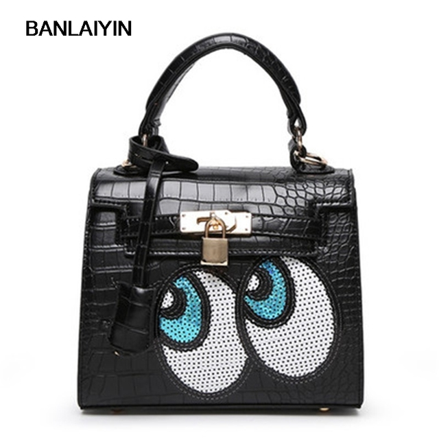 Nice Korean Style Cute Women Shoulder Bags S Eyes Leather Handbags With Lock Lady Small