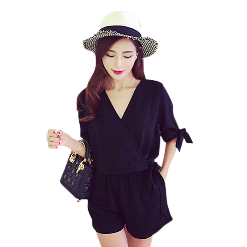 Summer Women Chiffon Playsuits V-Neck Short Sleeves Solid Color Fashion Rompers Red Black Y5