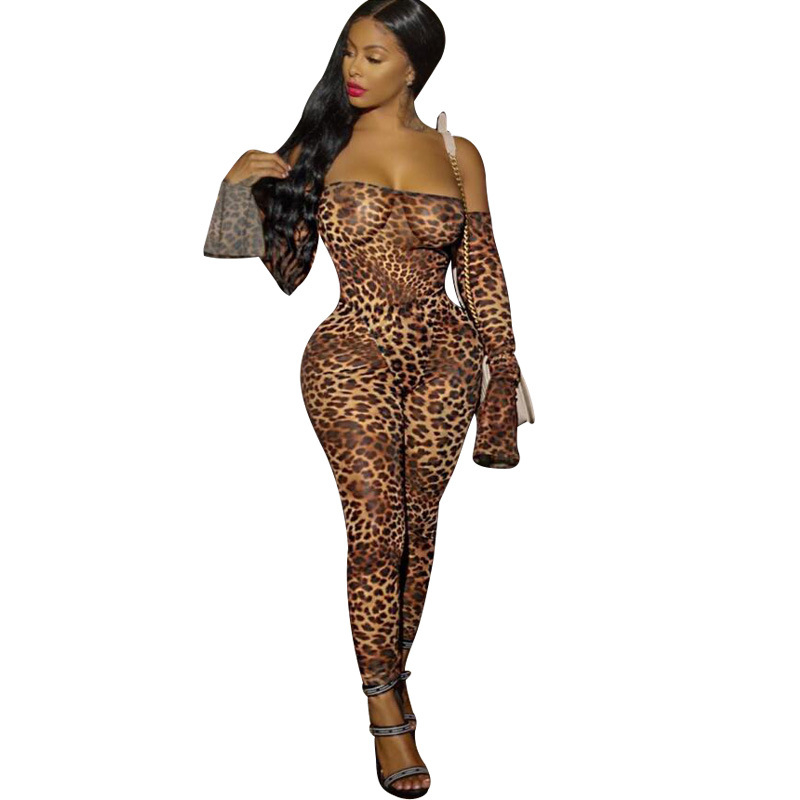 Adogirl Leopard Print Sheer Mesh Night Club Party Jumpsuits Women Sexy Slash Neck Off Shoulder Long Sleeve Romper Female Outfits