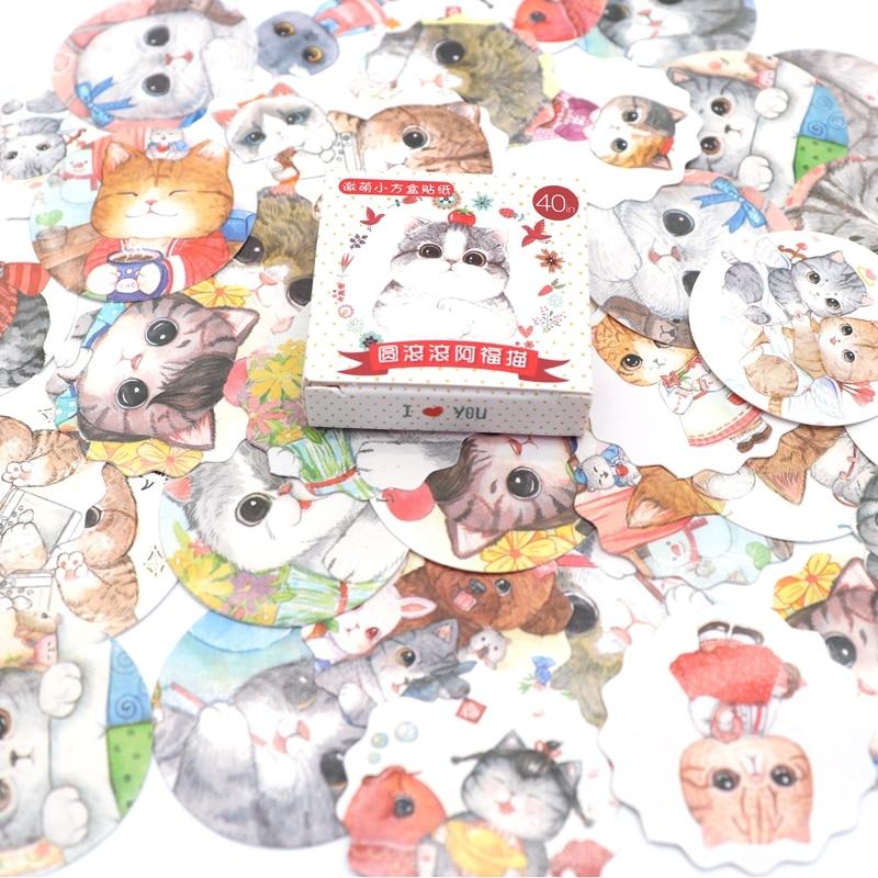 40 PCS/Box Cute Mini Colourful Cat Sticker Scrapbooking DIY Paper Pack Seal Label Diary Journal Kawaii Stationery Kids40 PCS/Box Cute Mini Colourful Cat Sticker Scrapbooking DIY Paper Pack Seal Label Diary Journal Kawaii Stationery Kids