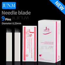 50pcs 0.25mm 9Pins Permanent Eyebrow Makeup Needle Blades Tattoo Manual Needle For Microblading Pen 3D Eyebrow Microblading Pen