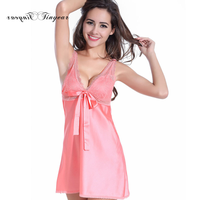 Elegant women lace deep v neck   nightgowns     sleepshirts   super thin breathable summer sexy suspender babydoll nightdress 5 colors