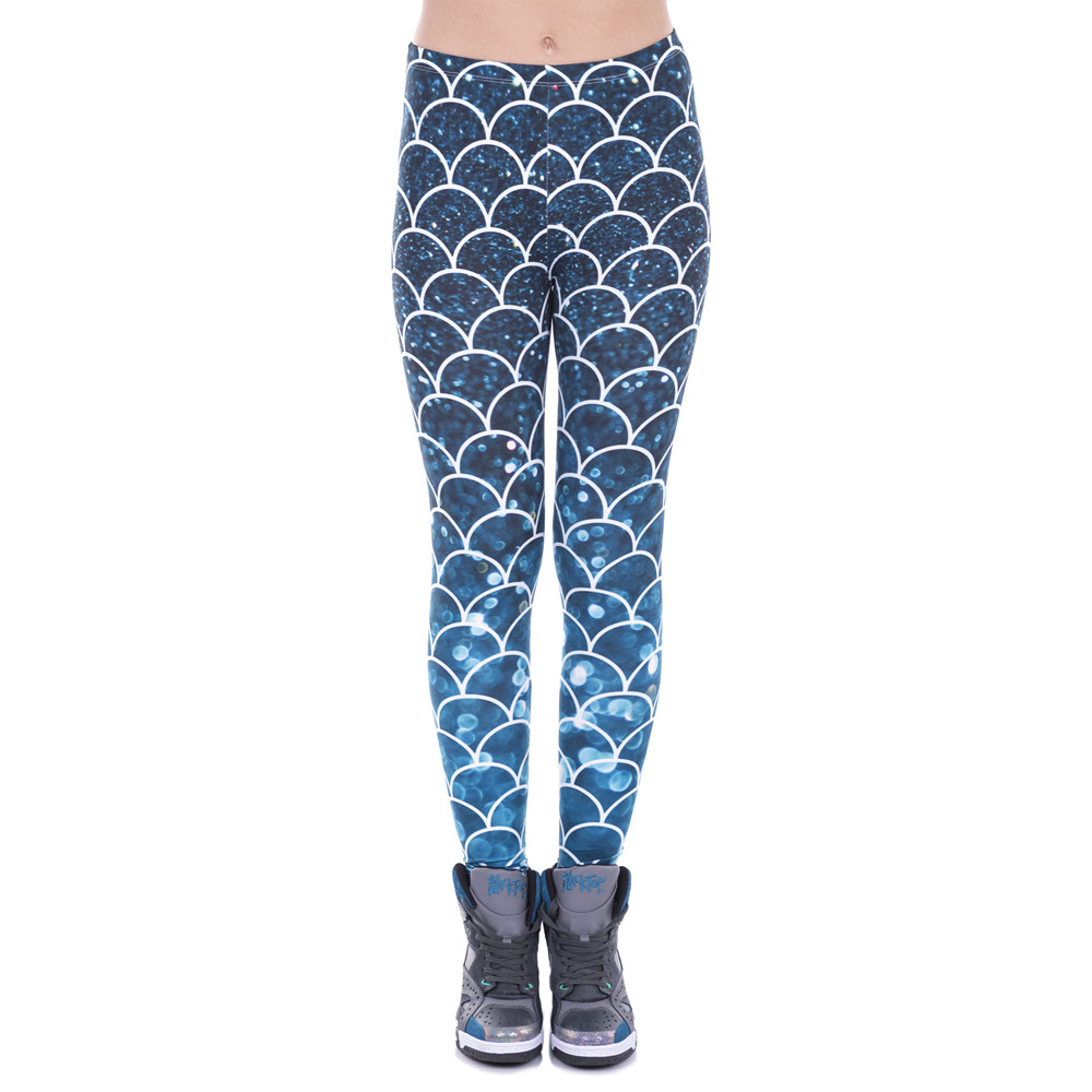Mermaid Glitter Printed Leggings
